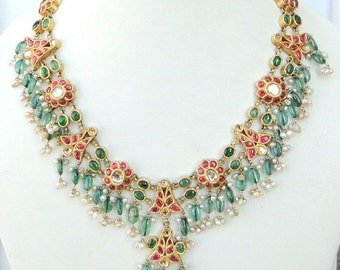 Vintage Antique 20k Gold Diamond Polki Kundan Necklace Tamil Nadu South India