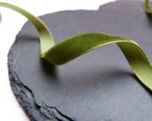 Moss Green Velvet Ribbon 9mm Wide Berisfords Per Metre