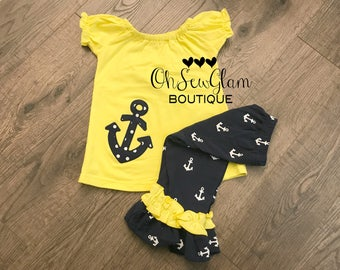 SALE - Girls Embroidered Anchor Ruffle Outfit - Girls Anchor Ruffle Shirt - Matching Ruffle Capris - Anchor Outfit