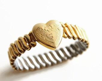 Vintage Gold Filled Sweetheart Bracelet, Designer Pacer, Engraved with G,  Love Token, Circa 1940's