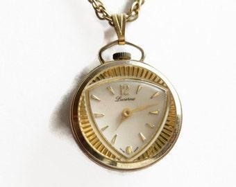Vintage Lustern Watch Pendant Necklace, Retro Watch Jewelry, Circa 1960's