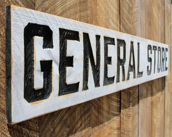 General Store Carved X-Large Sign- 6 Feet by 1 Foot Modern Farmhouse Vintage Style Advertisement Piece