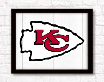 """Kansas City Chiefs rustic wall hanging 16""""x20"""" handmade sign - KC Chiefs wall sign for Boys room or Man cave decor - KC sports fan"""