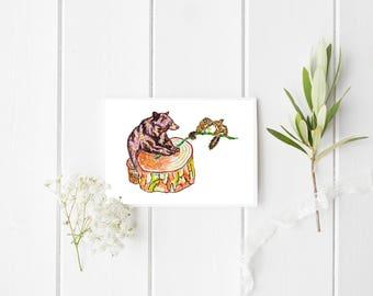Bear and squirrels Card, Bear card, thank you card, blank card, Bear greeting card, Bear blank card, Bear illustration