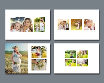 4 x 6 White Space Digital Photo Collage Templates - Set 1