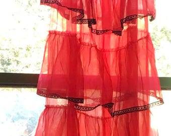 Sheer red nylon chiffon nightgown  burlesque vintage 60's 70's sissy