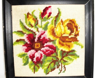 Vintage Completed Needlepoint Floral Picture Framed