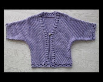 Vintage 1980's lilac knitted cardigan/bedjacket/shrug