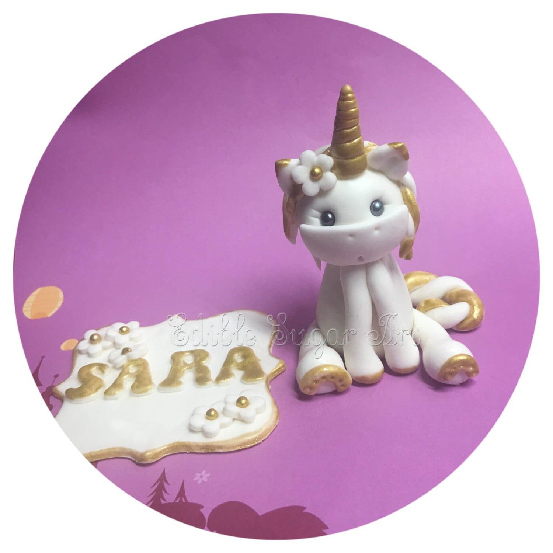 UNICORN CAKE TOPPER Fondant Unicorn Cake Topper Gold Unicorn