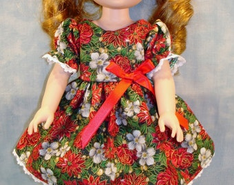 14 Inch Doll Clothes - Poinsettias and Roses Christmas Dress handmade by Jane Ellen