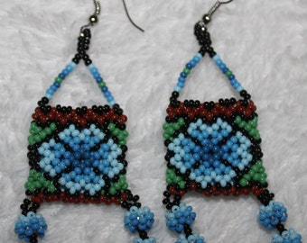 Huichol Beaded Bag Earrings RRR-Blue
