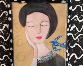 Handmade Tile/ Mixed Medium Artwork on Plaster Tile / Tile / Modern Art/ Painting/ Portrait/Unique/Collectibles/Mix Media/ Collage / bird