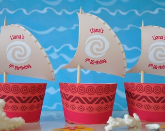 Moana cupcake topper sails and wrappers for birthday party - PERSONALISED pdf printable file - outrigger boat with Polynesian tribal design