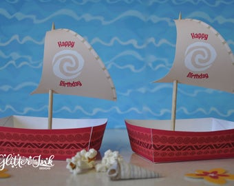 Moana Polynesian boat food snack trays and sail toppers for birthday party - pdf printable treat favor popcorn box
