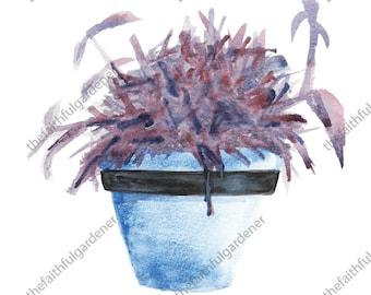 Blue Pot with Purple Succulent Watercolor Original Painting