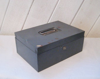 Gray metal lock box, hinged lid, filing box, letter box, rustic box, Art Steel co. New York, made in USA, industrial decor, 1472