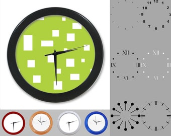 Simple Geometric Wall Clock, Mixed Square Design, Graphic Block, Customizable Clock, Round Wall Clock, Your Choice Clock Face or Clock Dial