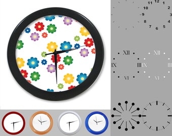 Flower Power Wall Clock, Colorful Fun Design, Rainbow Floral, Customizable Clock, Round Wall Clock, Your Choice Clock Face or Clock Dial