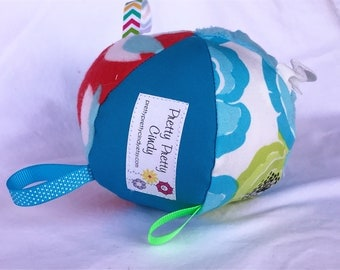 Jingle Fabric Tag Ball Baby Crib Toy Turquoise Red