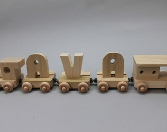 3 letter handcrafted, personalized wood child's name train
