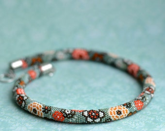 Bead crochet necklace Beadwork jewelry Japanese watercolor Floral choker Green orange kimono
