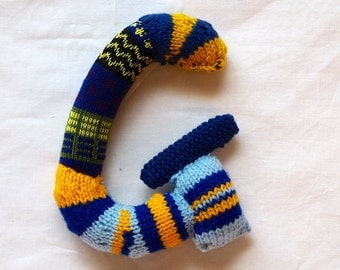 Knitted letter G, alphabet, sock letter G, initial letter, nursery art, alphabet sock toy