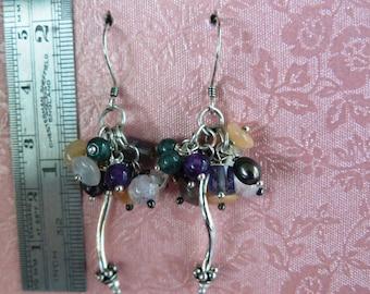 Gemstones - Cluster - Sterling Silver – Earrings – Pearls - Gemstones