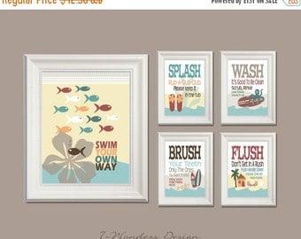 On sale childrens kids bathroom decor art prints by for Bathroom decor on sale