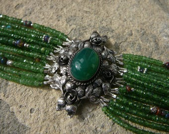Vintage Peruzzi Repurposed Brooch Bracelet, 800 Italian Silver Brooch Cuff, Multi Strand Tsavorite Garnet Bracelet, Ethiopian Opal