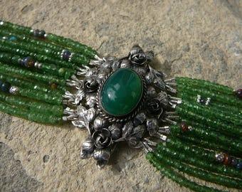Tsavorite Garnet Bracelet, Repurposed Brooches, Tsavorite Beads, Peruzzi Bracelet, Vintage Bracelet, 800 Silver, Italian Silver Bracelet