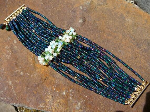 Tsavorite Garnet, Gemstone Bracelets, Bracelet, Garnet, Garnet Jewelry, Black Opal, Opal Jewelry, White Opal Bracelet, Ethiopian Opal