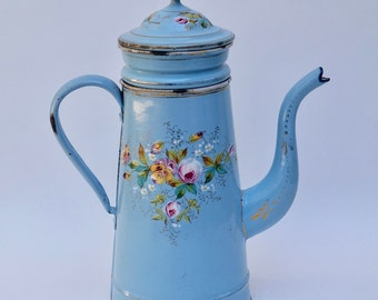 RESERVED - Antique French Enamelware Coffee Pot, Biggin
