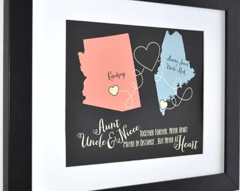 Personalized Gift for Aunt and Uncle Custom Maps Mothers Day Gifts For Aunt Auntie Tia Mom From Niece Nephew Uncle Tio Family Art Print