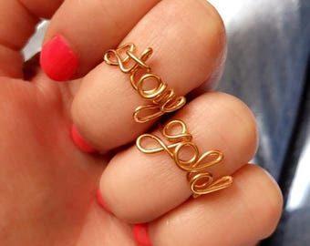 Stay Gold Adjustable Wire Script Set of Rings, 24kt gold plated