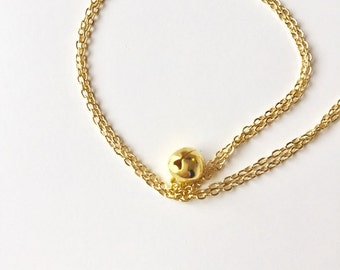 Dainty charm necklace - Jingle bells necklace - Tiny bell charm - christmas jewelry - xmas gift - Minimalist necklace - Gold necklace