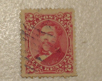 US Possessions 1886 Hawaii Postage Stamp Scott # 43, 2 cents. 19th Century Stamp, MH King Kalakaua