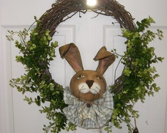Country Rabbit in Grapevine Wreath