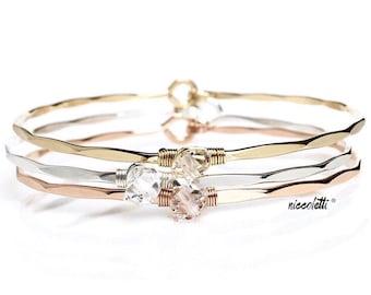 Herkimer Diamond Bangle Bracelet / April Birthstone / Rose Gold Gemstone Bangle / Bridal Bracelet / Bridesmaid Gift / Gift for Mom