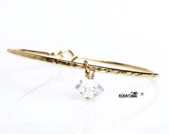 Herkimer Diamond Charm Bangle / April Birthstone / New Mom Gift / Mothers Jewelry / Genuine Quartz / Bridesmaid Jewelry Gift / Maid of Honor