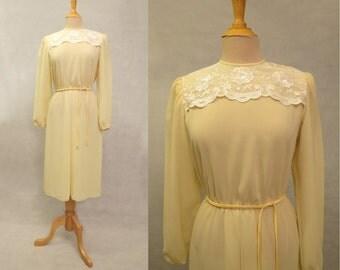 Yellow Dress With Lace Yoke - 1980s
