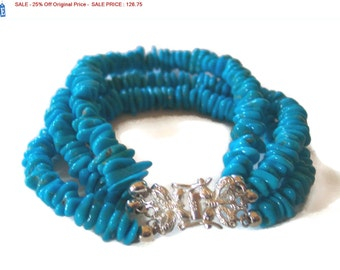 SALE - 25% Off Original Price Three Strand Sleeping Beauty Turquoise 925 Sterling Silver Bracelet, size 6.