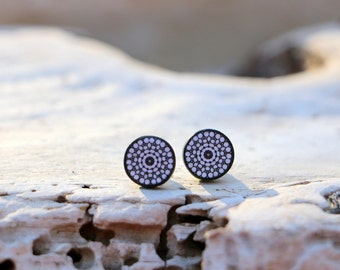 Tiny Studs, Gift for Teen, Black White Posts, Small Trendy Earrings, Polka Dot Jewelry, Minimalistic Trend, Gift under 25, Handmade Gift