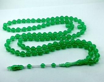 Bright green color 99 pcs Islamic Prayer Beads Misbaha Rosary Tesbih worry 401060