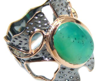 Chrysoprase Sterling Silver Ring - weight 7.80g - Size 8 1 2 - dim L- 1, W -7 8, T- 3 16 inch - code 8-lip-16-4