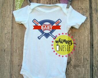 Whimsy Onesie baseball debut custom pregnancy announcement gender reveal new mom dad pregnant shower gift Christmas Cubs MLB world series