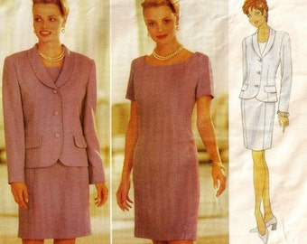 """A Straight, Princess Seamed Dress, and Above Hip Length Jacket Pattern for Women: Uncut - Sizes 12-14-16, Bust 34"""" to 38"""" ~ Butterick 4722"""