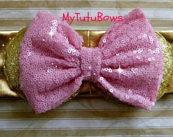 New Minnie Mouse Ears Headband Gold Sparkle Shimmering headband and Ears with Big Light Pink Sequin Bow Fits Babies and Children Ready  Ship