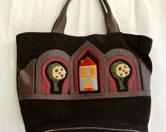 Vintage suede leather handbag - Made in Argentina - brown leather with appliqué