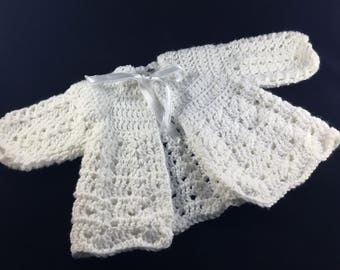 6-9 month Baby Girl White Crocheted Sweater  Christening, Baptism Sweater, Easter Sweater