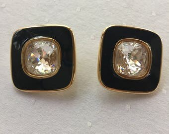 Swarovski S.A.L. Black Enamel and Clear Crystal Clip-on Earrings